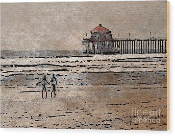 Huntington Beach Surfers Wood Print