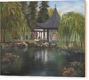 Wood Print featuring the painting Huntington Chinese Gardens by LaVonne Hand