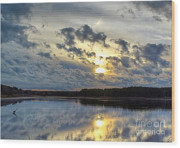 Huntington Sunset Reflection Wood Print