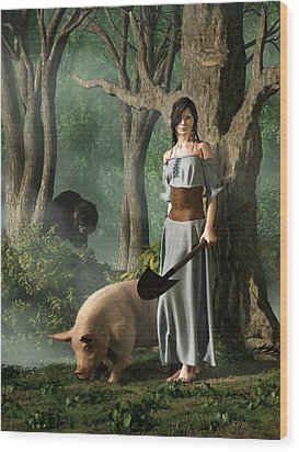 Huon The Truffle Hog Wood Print by Daniel Eskridge