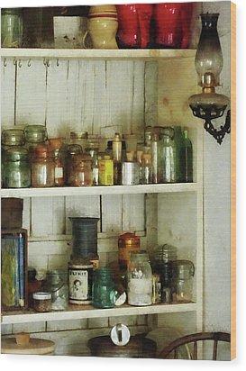 Hurricane Lamp In Pantry Wood Print by Susan Savad