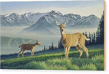 Hurricane Ridge-blacktails Wood Print by Paul Krapf