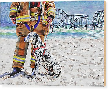 Hurricane Sandy Fireman And Dog  Wood Print by Jessica Cirz