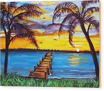 Wood Print featuring the painting Hurry Sundown by Ecinja Art Works