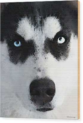 Husky Dog Art - Bat Man Wood Print by Sharon Cummings