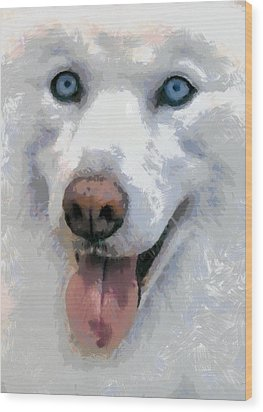 Wood Print featuring the painting Husky by Georgi Dimitrov