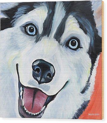 Husky Wood Print by Melissa Smith