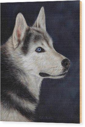 Husky Portrait Painting Wood Print