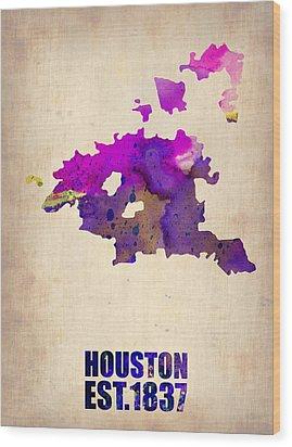 Huston Watercolor Map Wood Print by Naxart Studio