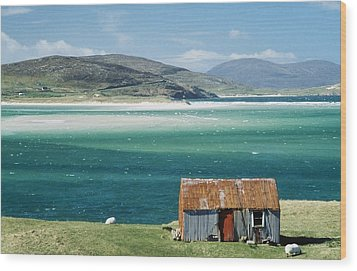 Hut On West Coast Of Isle Wood Print by Rob Penn