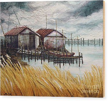 Huts By The Shore Wood Print by Joey Agbayani