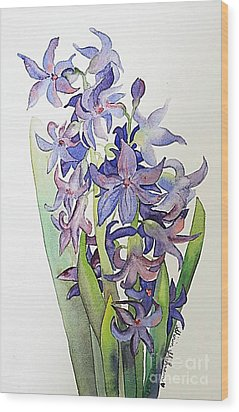 Wood Print featuring the painting Hyacinthus by Shirin Shahram Badie