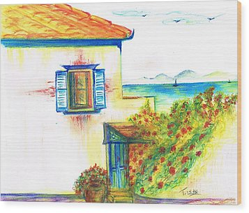 Wood Print featuring the painting Greek Island Hydra- Home by Teresa White