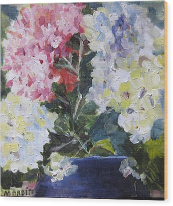 Wood Print featuring the painting Hydrangea Blue by MaryAnne Ardito