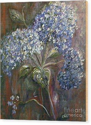 Hydrangea Bouquet At Dawn Wood Print by Eloise Schneider