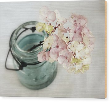 Wood Print featuring the photograph Hydrangea In Vintage Robin's Egg Jar by Brooke T Ryan