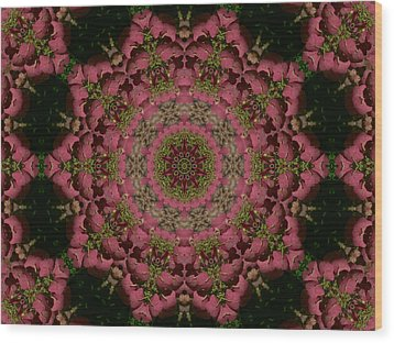 Wood Print featuring the photograph Hydrangea Mandala Mauve by MM Anderson