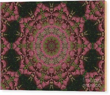 Hydrangea Mandala Mauve Wood Print by MM Anderson