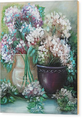 Wood Print featuring the painting Hydrangea Melody by Patrice Torrillo