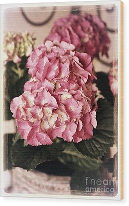 Hydrangea On The Veranda Wood Print by Carol Groenen