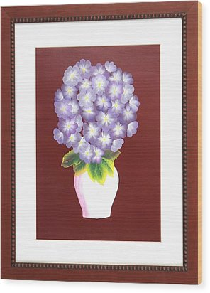 Wood Print featuring the painting Hydrangea by Ron Davidson