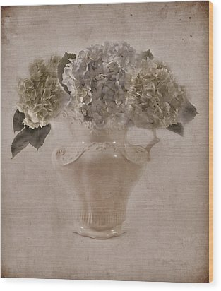 Wood Print featuring the photograph Hydrangeas In Cream Pitcher by Sandra Foster