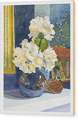 Hydrangeas On Mantle Wood Print