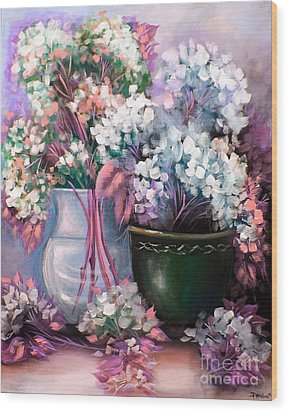 Wood Print featuring the painting Hydrangeas Still Life Pink by Patrice Torrillo