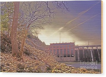 Hydro Electric Dam  N Wood Print by Kristine Nora