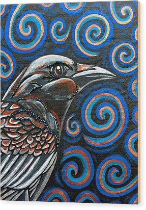 Wood Print featuring the photograph Hyper Raven by Sarah Crumpler