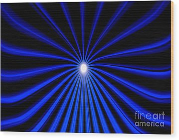 Wood Print featuring the painting Hyperspace Blue Landscape by Pet Serrano