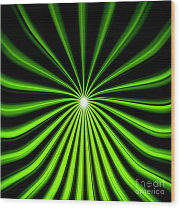 Wood Print featuring the painting Hyperspace Electric Green Square by Pet Serrano