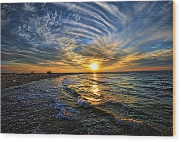 Wood Print featuring the photograph Hypnotic Sunset At Israel by Ron Shoshani