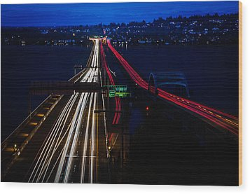 I-90 Light Speed Travelers Wood Print by Brian Xavier