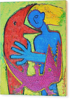 I Am Blue But Still Alive Do Not Eat Me Wood Print by Ana Maria Edulescu