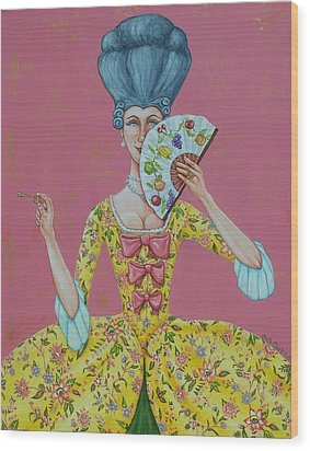I Am Desirous Of Your Acquaintence-language Of The Fan Wood Print by Beth Clark-McDonal