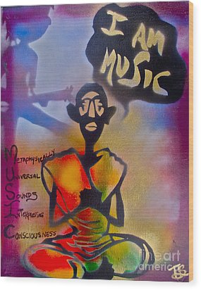 I Am Music #1 Wood Print by Tony B Conscious