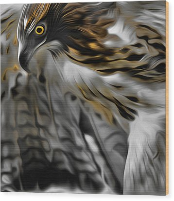 I Am Redtail Square Wood Print by Bill Wakeley