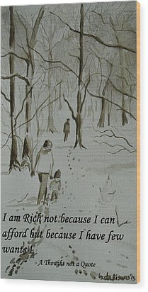 I Am Rich - Monochrome-snow Scene Wood Print by Geeta Biswas