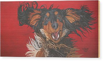 Wood Print featuring the painting I Am Sooooooo Happy To See You by Wendy Shoults