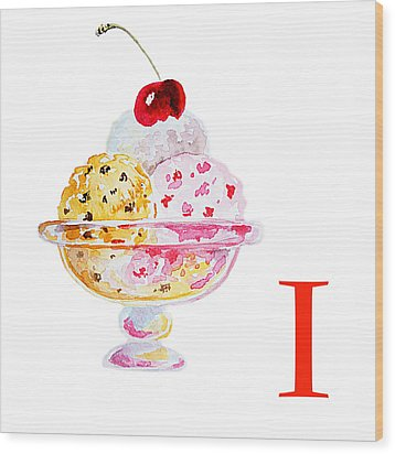 I Art Alphabet For Kids Room Wood Print by Irina Sztukowski