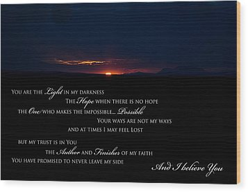 I Believe You Wood Print by Swift Family