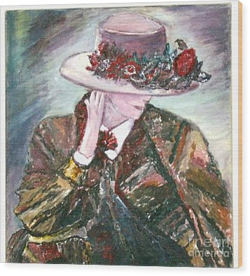 Wood Print featuring the painting I Borrowed My Mother's Hat by Helena Bebirian