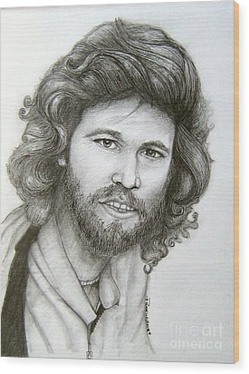 Wood Print featuring the drawing Barry Gibb by Patrice Torrillo