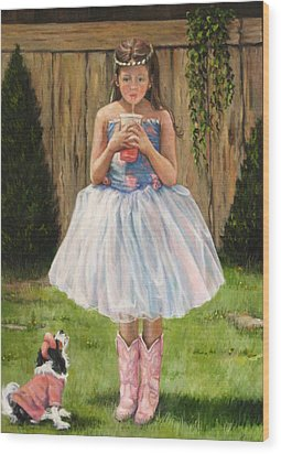 Wood Print featuring the painting I Dressed Myself by Donna Tucker