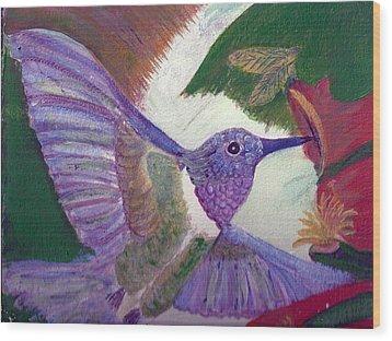 I Love Hummingbirds  Wood Print by Anne-Elizabeth Whiteway
