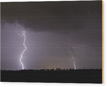 I Love Lightning Wood Print