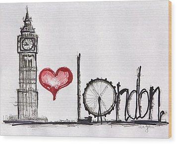 I Love London Wood Print