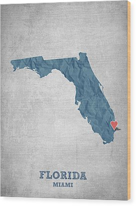 I Love Miami Florida - Blue Wood Print by Aged Pixel