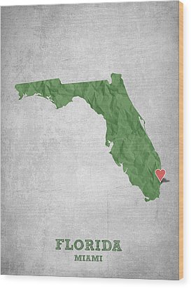 I Love Miami Florida - Green Wood Print by Aged Pixel